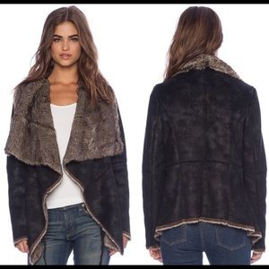 Velvet by Graham Draped Faux Leather Jacket